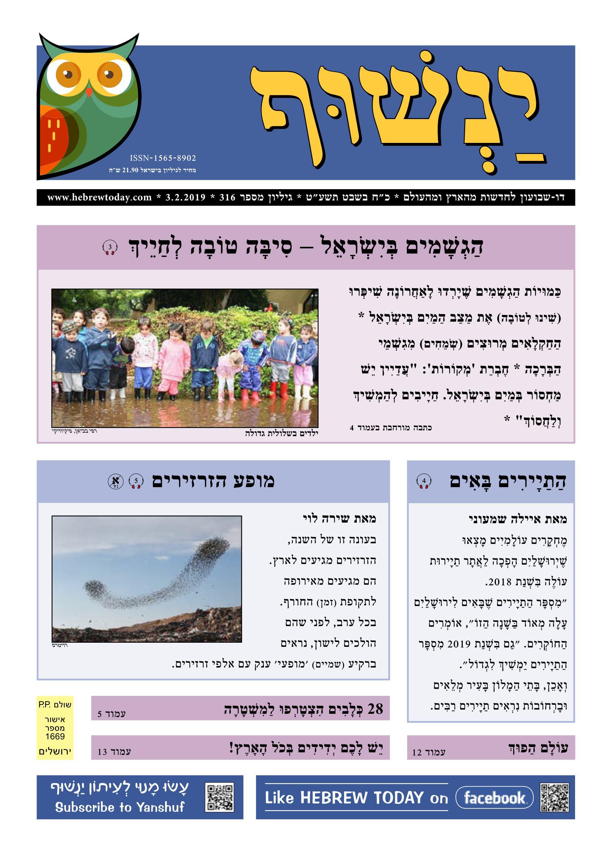 Yanshuf Newspaper - Hebrew Today