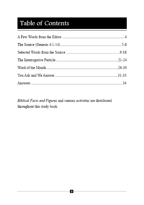 Table of contents - Biblical study book